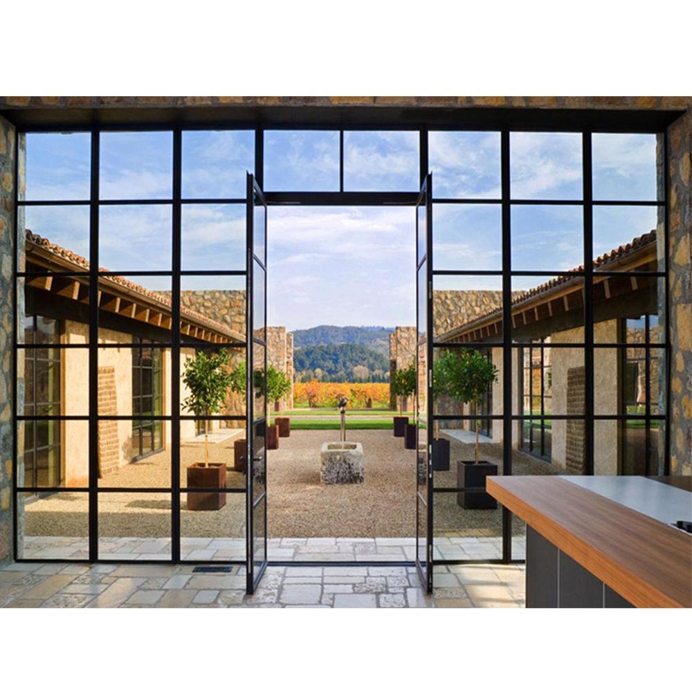 Villa Exterior Glass Door Metal Frame Wrought Iron And Glass Door