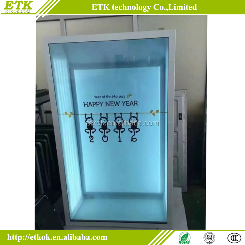 43 inch transparent lcd video showcase LCD advertising transparent display