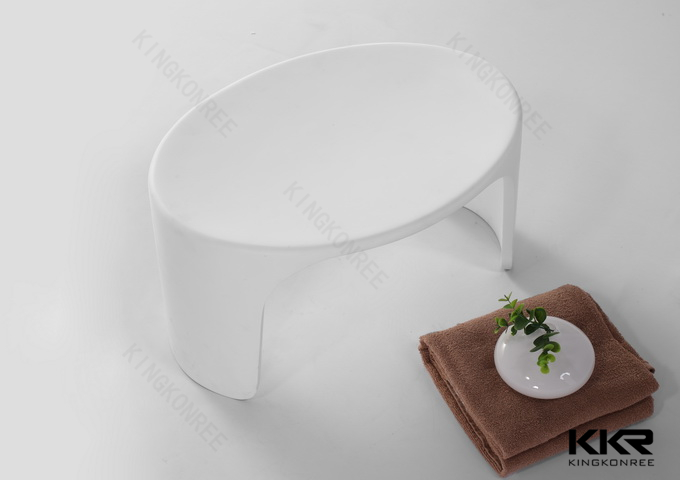 White U Shape Solid Surface Bath Stool Shower Stool