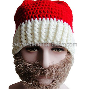Santa Beard Hat Unisex Knitted Winter Hat With Beard Christmas