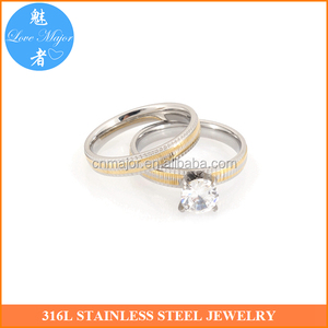 Silver&gold two tones plated couple ring sets surgical 316 stainless steel jewelry round zircon for men womens (MJJBR-037)