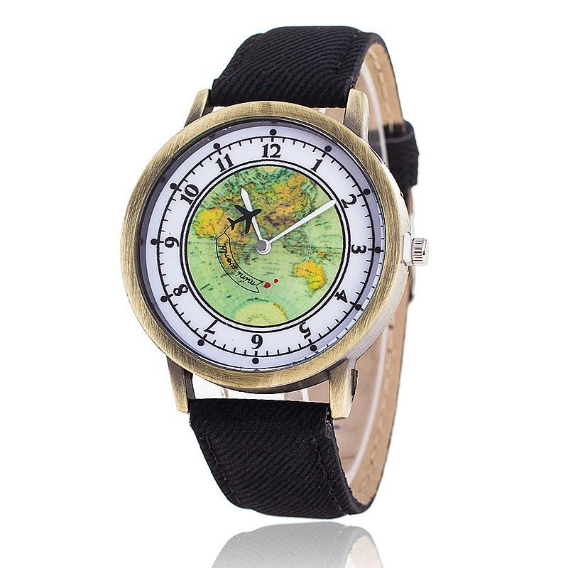 d5aebe1a7eb Alta Qualidade Barato Unisex Mundo Mapa Avião Couro Pulseira De Relógio  Mulheres Relógios De Pulso - Buy Relógio Barato