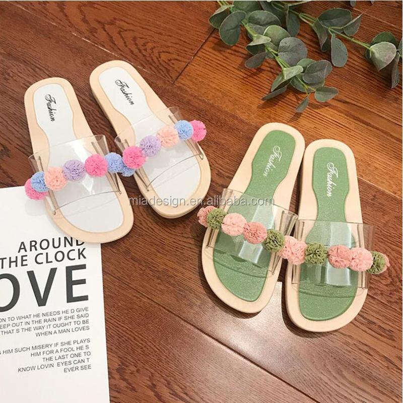 ลูกไม้สีสันสดใส Ball CLEAR Jelly สไลด์ PVC Breathable รองเท้าแตะผู้หญิงผู้หญิงรองเท้าแตะ