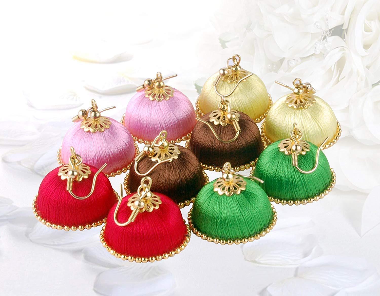 Krishna Handmade INDIAN Dangling Chandelier Earrings [5 set of Earrings] [Colour - Multicolour] [Small - 20mm Dia] [KPR-CMB-HK53]