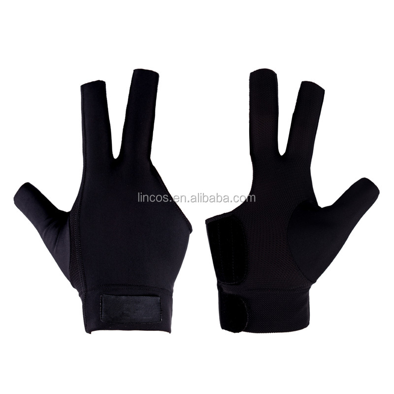 new breathable 3finger cutting billiard pool gloves