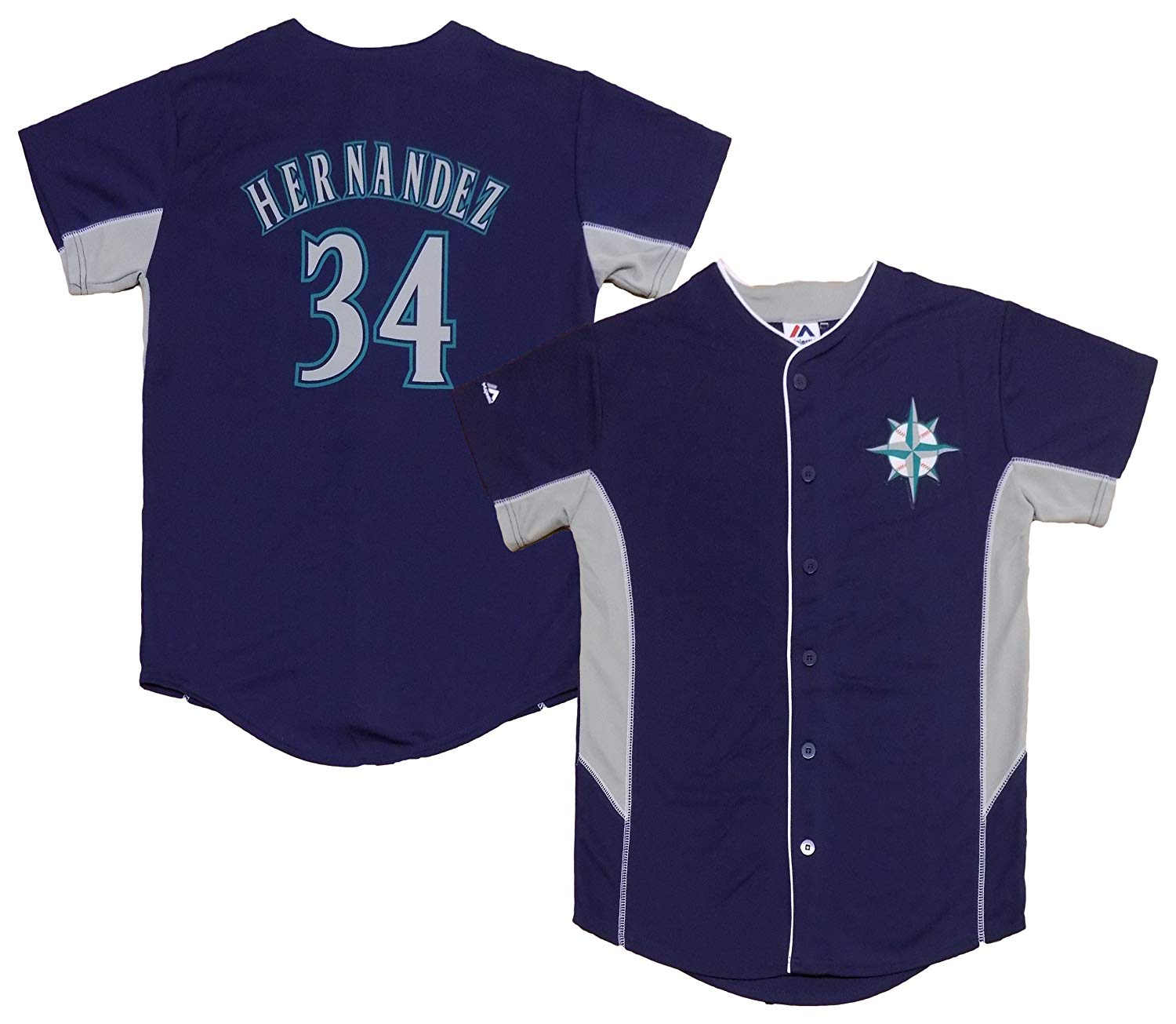 Outerstuff Felix Hernandez Seattle Mariners #34 Navy Blue Youth Team Leader Jersey
