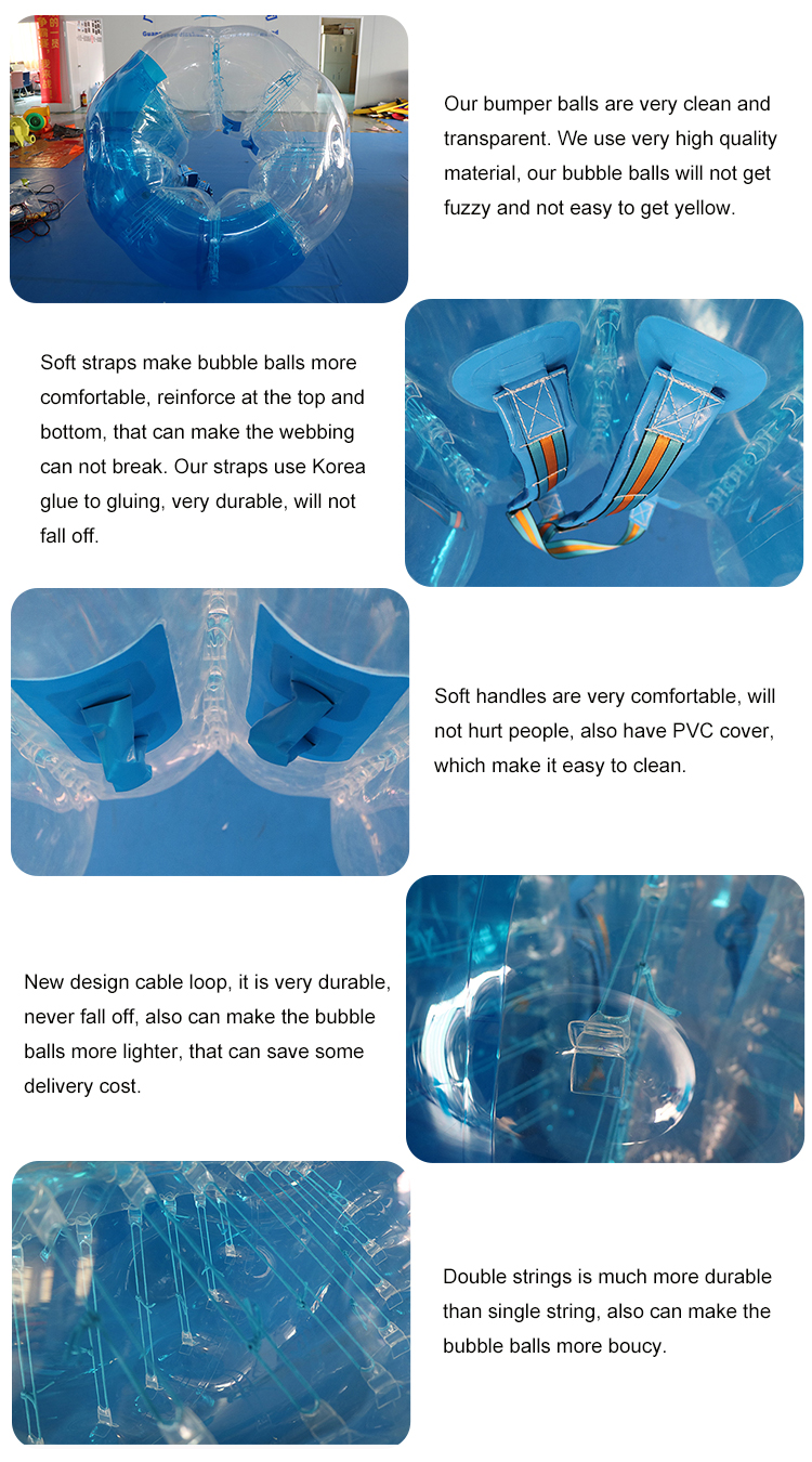 TPU Inflatable Clear Body Zorb Bubble Balls 2 Years Still Working Well Commercial 1.5m Diameter Inflatable Toy