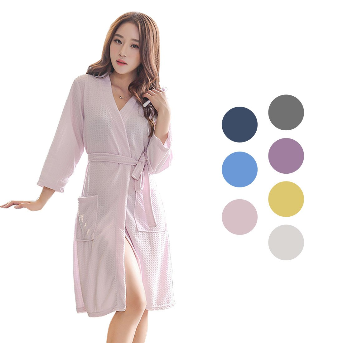 c390d8a42e Get Quotations · uxcell Women s Turkish Cotton Robe Waffle Kimono Robe Knit  Unisex Bathrobe Lightweight Loungewear Sleepwear
