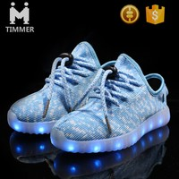Most popular design running sports led shoes casual knitting fabric light up led shoes