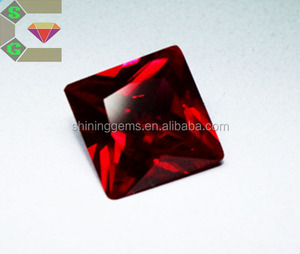 alibaba saturated color high quality synthetic Ruby 5# square cut lab created gems