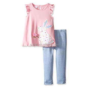 Wholesale Easter Boutique Outfits Fashion Print Clothes And Ruffle Pants Giggle Moon Remake