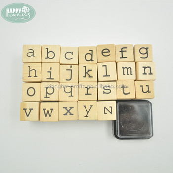 26pcs Alphabet Stamp Set Mini Rubber Toy Wooden Letter Kits With Ink Pad