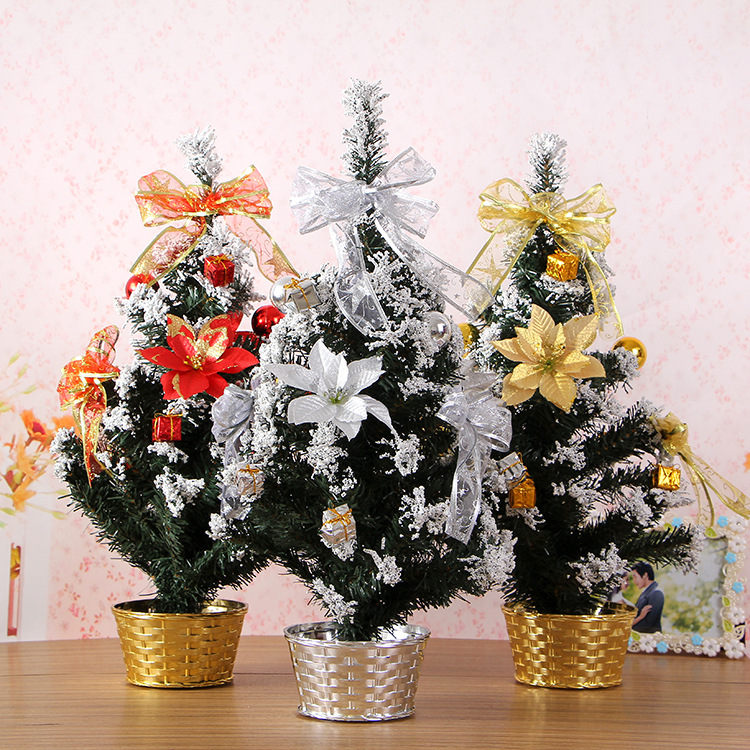 Festival Scene Layout Decorations Ornaments 60cm Silver Lace Christmas Tree