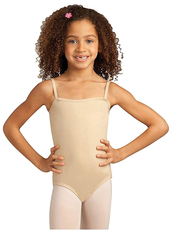 Girl kids ballet camisole dance leotard gymnastics skate dancewear nude bodysuit