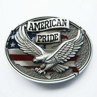 Jeansfriend New Oval Enamel Western American Pride Eagle Flag Belt Buckle Gurtelschnalle Boucle de ceinture