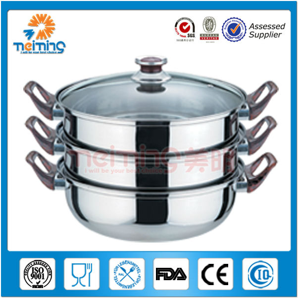 3layer optima stainless steel steamer cooking pot