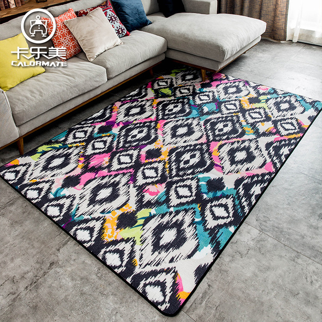 Minimalist Colorful Rug Designs: Modern Minimalist Nordic Colorful Geometric Patterns Sofa