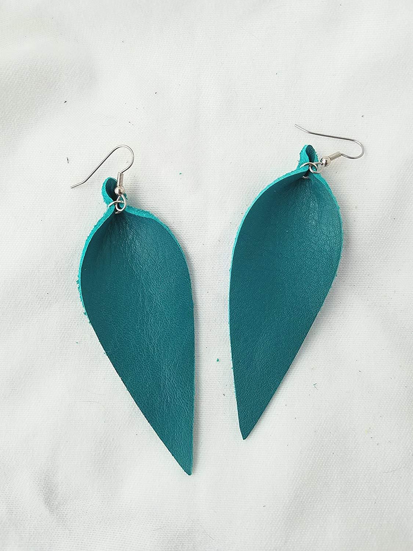 Jaded Teal/Leather Statement Earrings - Large/Joanna Gaines Earrings/Leaf