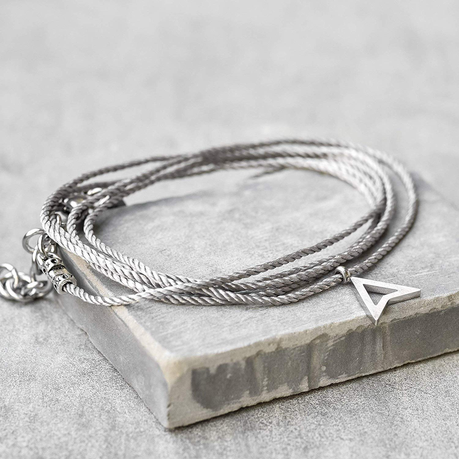 Handmade Wrap Gray Fabric Bracelet For Men Set With Stainless Steel Triangle Pendant By Galis Jewelry - Wrap Bracelet For Men - Black Bracelet For Men - Jewelry For Men