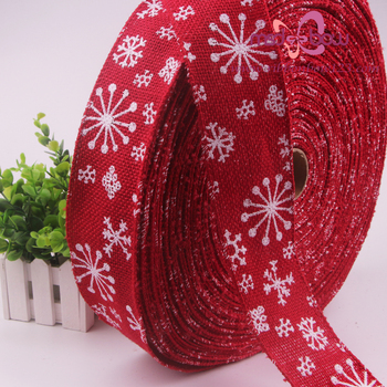 2016 Christmas Jacquard Ribbon 2.5 Inch Wide jute burlap ribbons