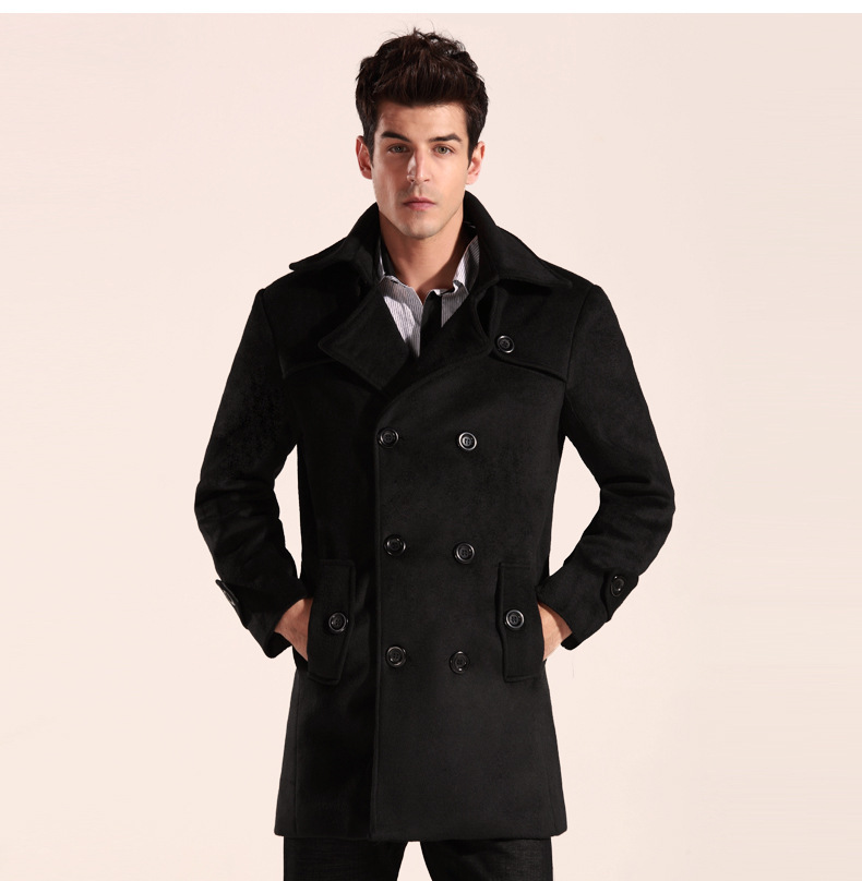 A pea coat (or pea jacket, pilot jacket) is an outer coat, generally of a navy-coloured heavy wool, originally worn by sailors of European and later American navies. Pea coats are characterized by short length, broad lapels, double-breasted fronts, often large wooden, metal or plastic buttons, and vertical or slash pockets. [3].