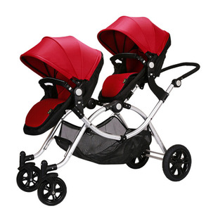 Luxury revesal jogging stroller for twins , newborn adjustable sit and stand baby twin trend stroller double baby stroller