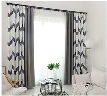 2019 Top Quality 100% Polyester Online Store Black White Striped Curtains Printed