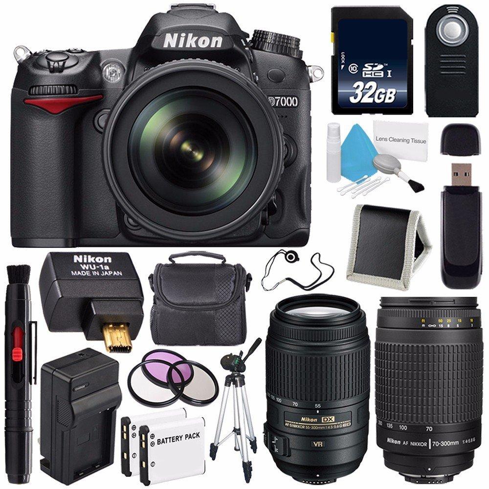 Nikon D7000 DSLR Camera Kit with Nikon 18-105mm f/3.5-5.6G ED VR Lens (International Model) No Warranty + 70-300mm f/4.5-5.6G ED IF AF-S Lens + Nikon AF-S DX 55-300mm f/4.5-5.6G ED VR Lens Bundle 144
