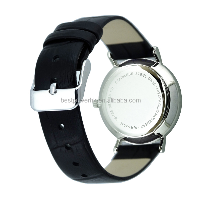 Cool black style watches Stainless steel case real leather strap classic watch