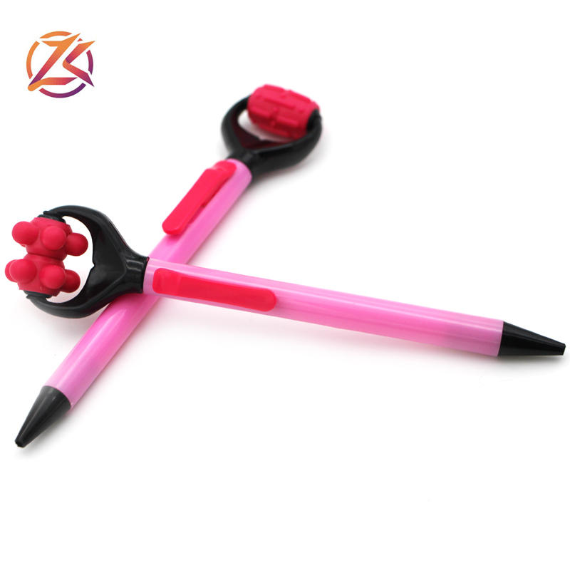 New design creative health pink roller massage ballpoint pen for promotion