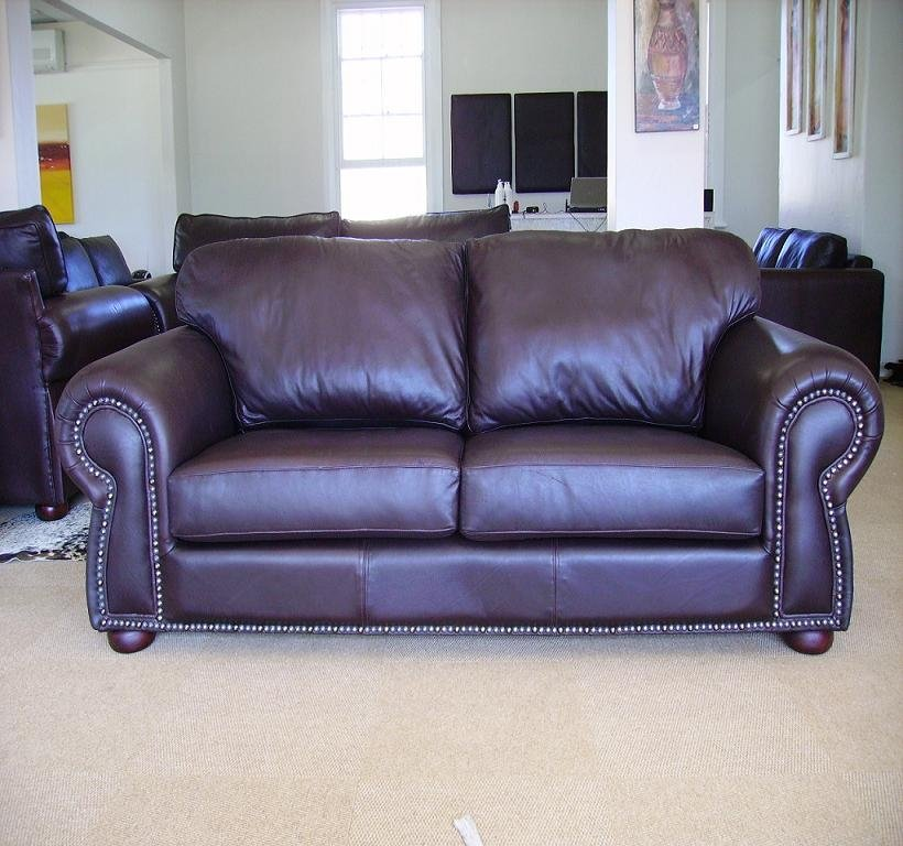 Bovine Oxblood Leather Sofa