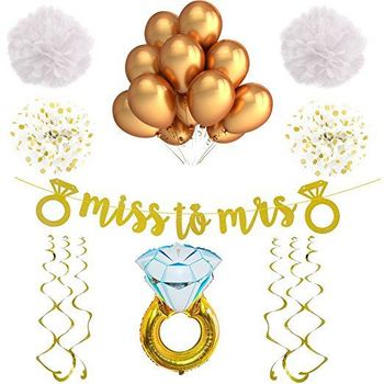 bridal shower bachelorette party decorations gold miss to mrs banner bridal shower supplies
