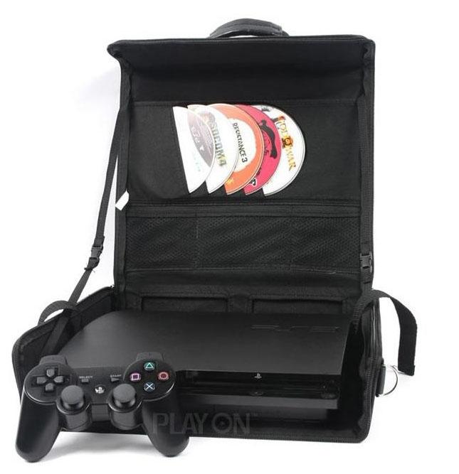 Get Quotations Portable Bag For Sony Ps3 Slim Black Silver Handbag Traval Playstation 3