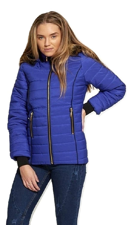 9d5050f1a0f65 Get Quotations · Momo&Ayat Fashions Ladies Faux Fur Lined Hood Puffa Coat  US Size ...