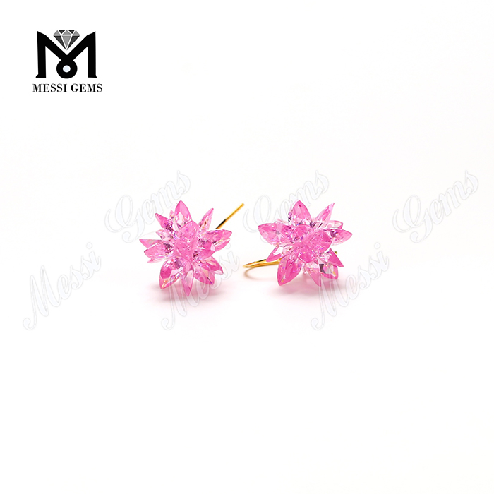 pink cz stone earrings women vampire jewelry earring for Korean