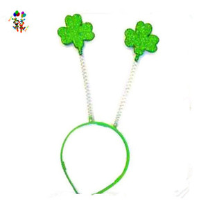St Patrick Day Green Lucky Shamrock Plastic Party Headbands HPC-0731
