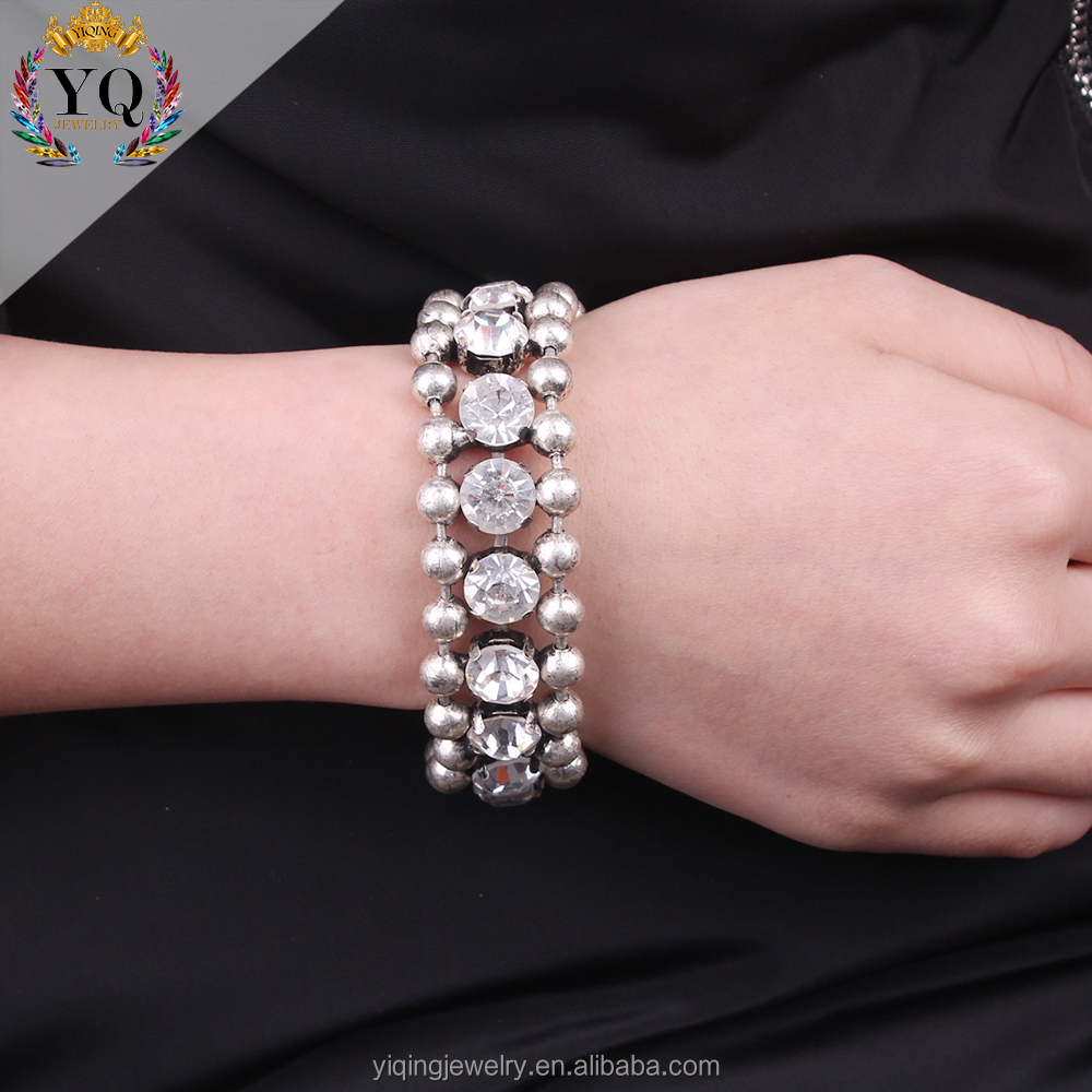 BYQ-00469 Hot simple silver plating iron bead diamond women bracelet bead bracelet men
