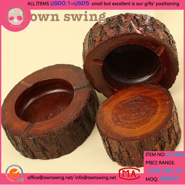 Wholesale Natural Home Office Bamboo Round Shape Cigarette Ash Holder Ashtray