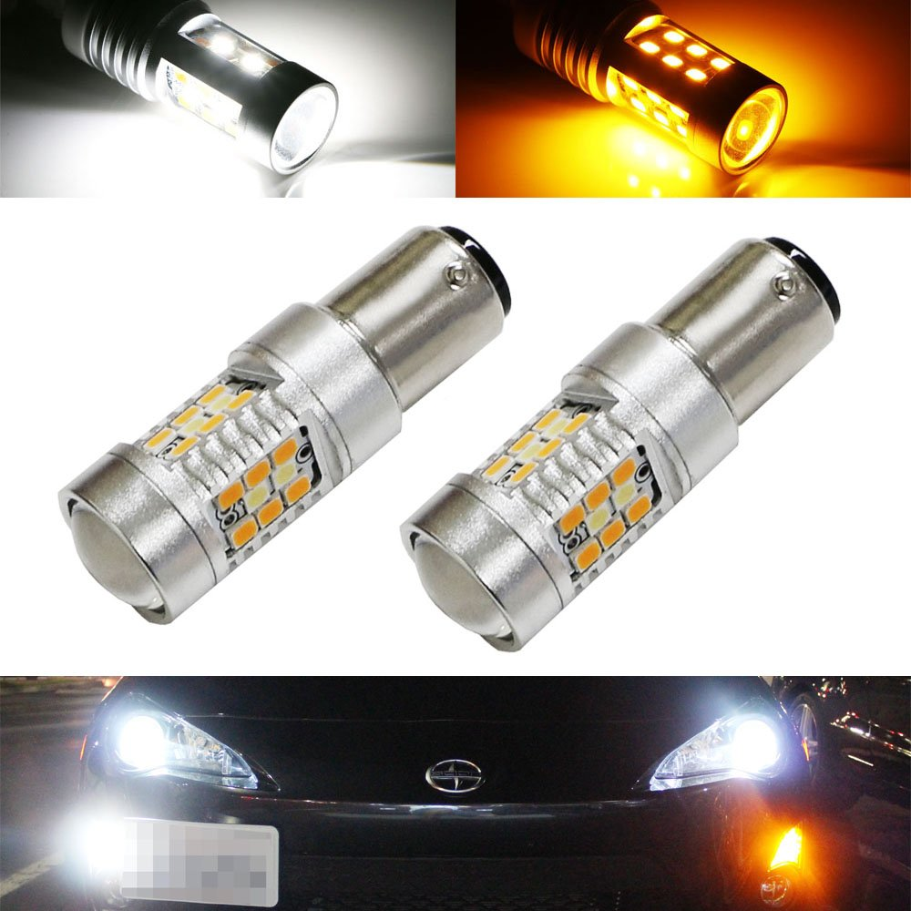 iJDMTOY (2) High Power White/Amber 1157 2057 2357 7528 Switchback LED Bulbs For Front Turn Signal Lights, Powered By SAMSUNG SMD LED