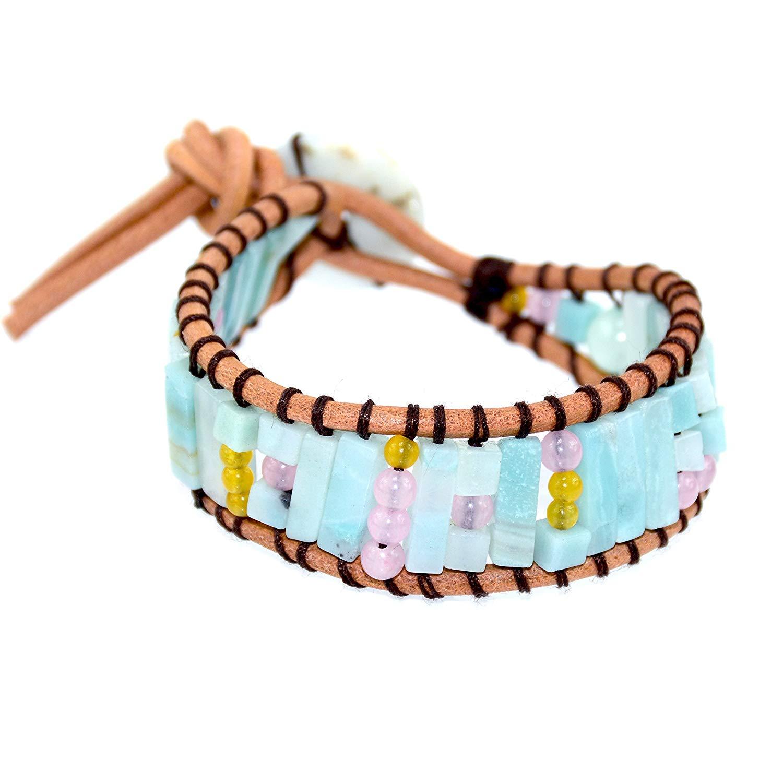Blue Amazonite Wrap Leather Bracelet, Genuine Brown Leather, Pink Quartz Yellow Agate Gemstone, Jade Button, Handmade Yoga Bracelet