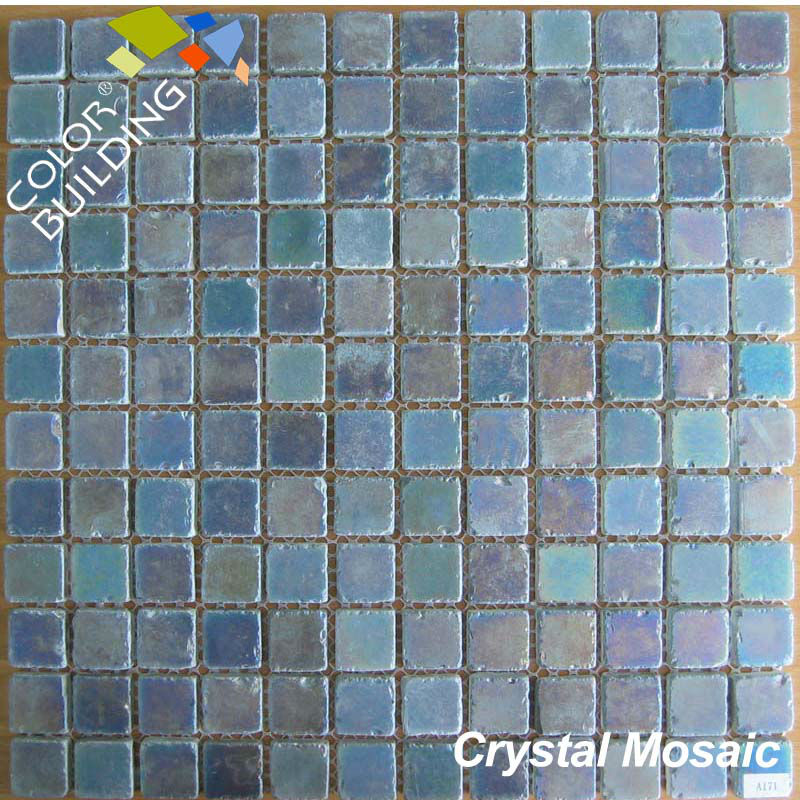 Special decor tumbled edge crystal mosaic iridescent finished glass mosaic
