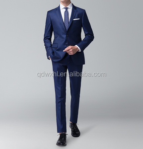 MTM Men suit for business Half canvas 100% Wool 2pcs , custom made quality Men suit Navy Blue Strip