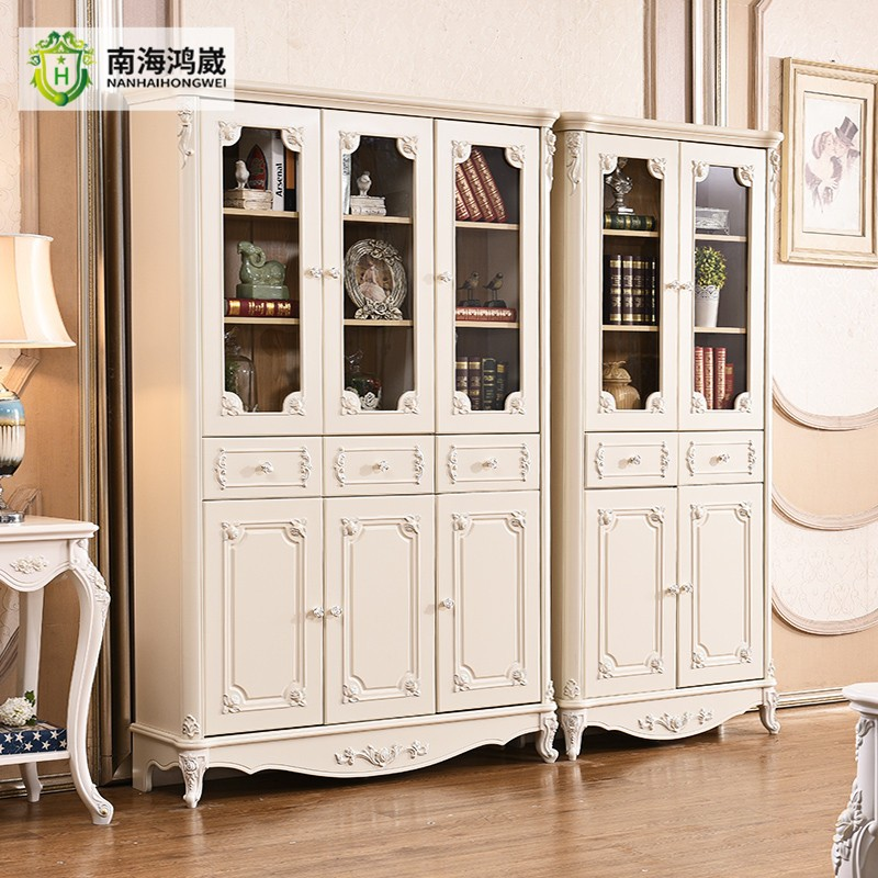 Two Three Door White French Style Home Office Wooden Bookcase Furniture  With Glass Doors Model
