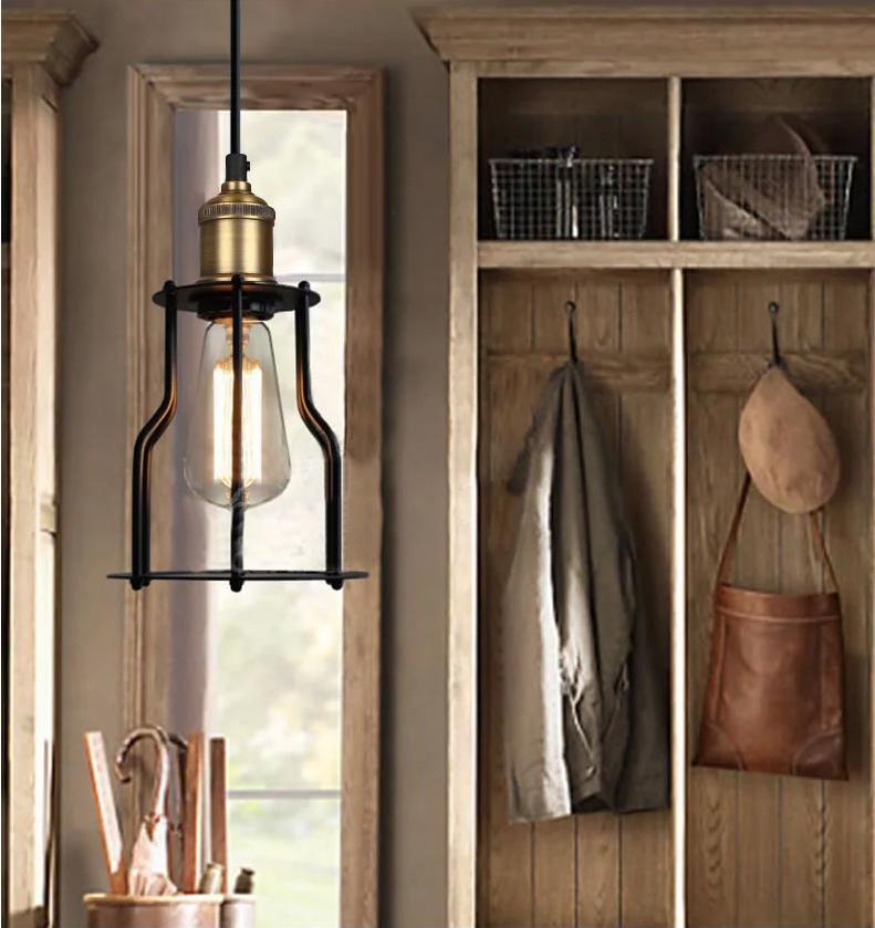 Modern Decorative Hanging Light Indoor Black Iron Bird Cage Loft ...