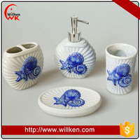 Sea shell toothbrush holder liquid soap dispenser bathroom set