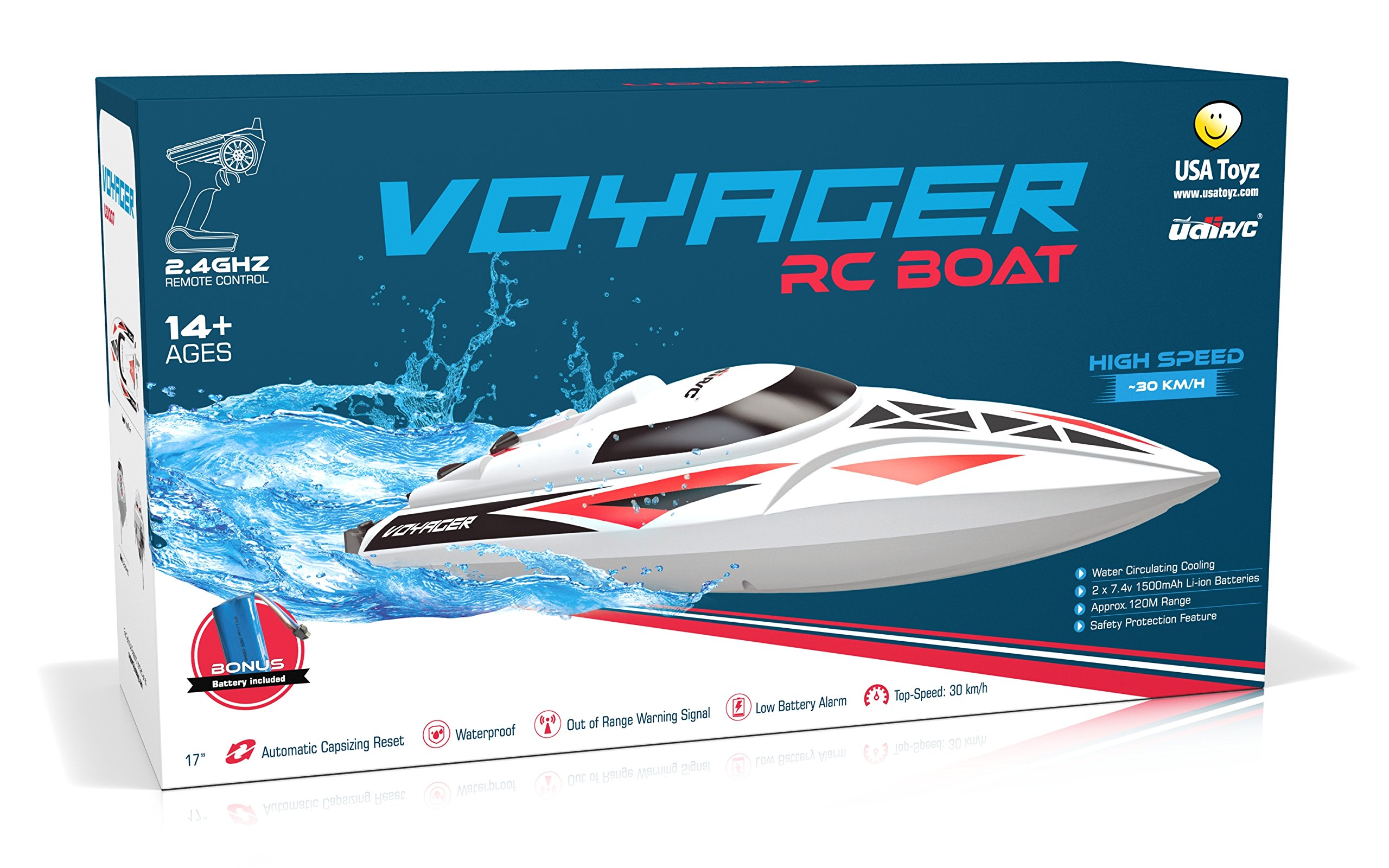 RC Boats Toy Mioshor Remote Control Boat H100 for Adults Kids 2.4G 4CH RC Speed Boats with LCD Display for Lakes Pools