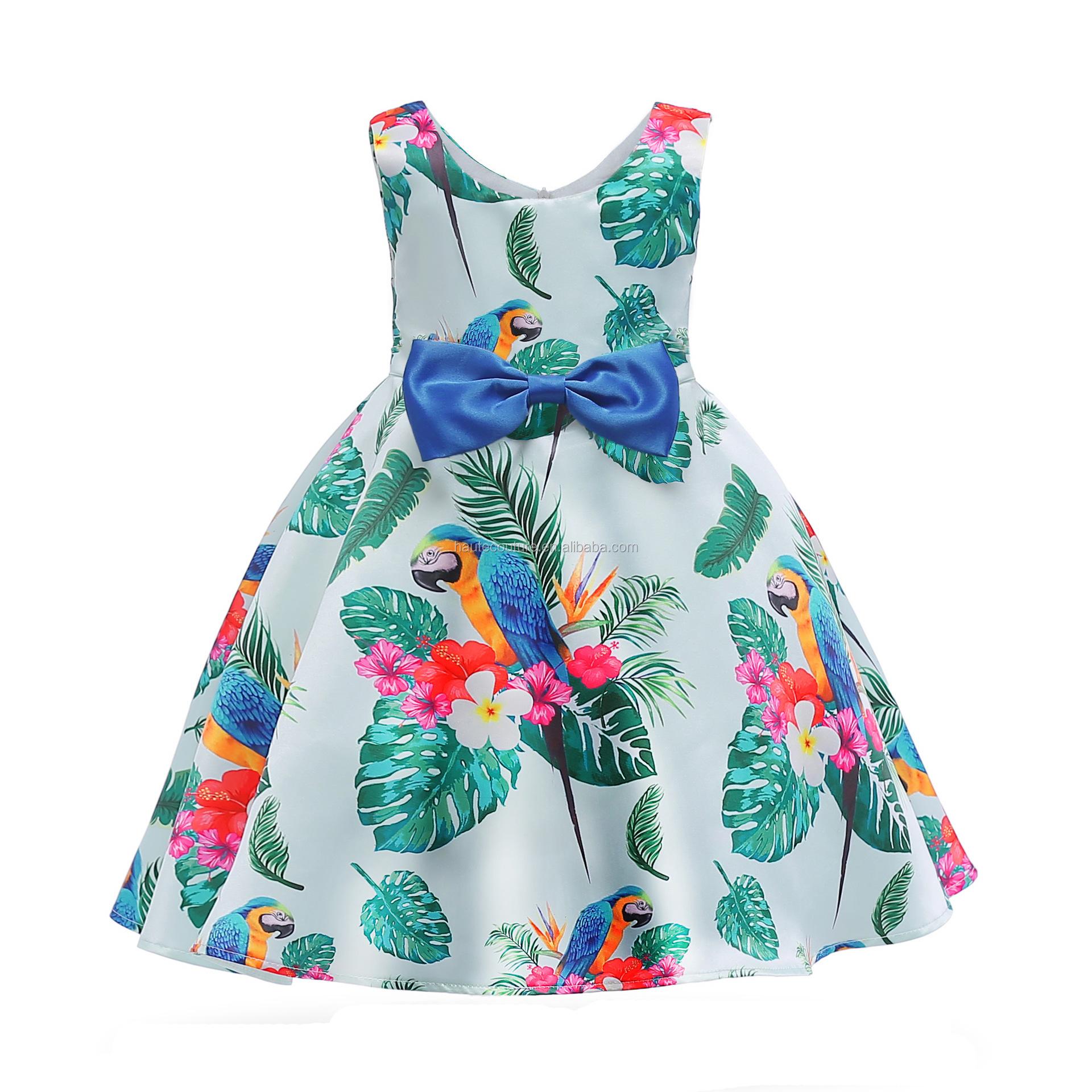 2019 Nuevo Diseño Niñas Casual Vestido De Verano Vestido Sin Mangas De La Longitud De La Rodilla Vestidos De Los Niños Verde Impreso Loro Vestido