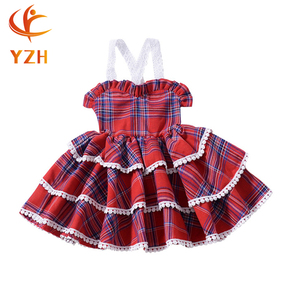 Cheap Children wears Baby bubble Princess red Dresses Plaid kids dresses for girls