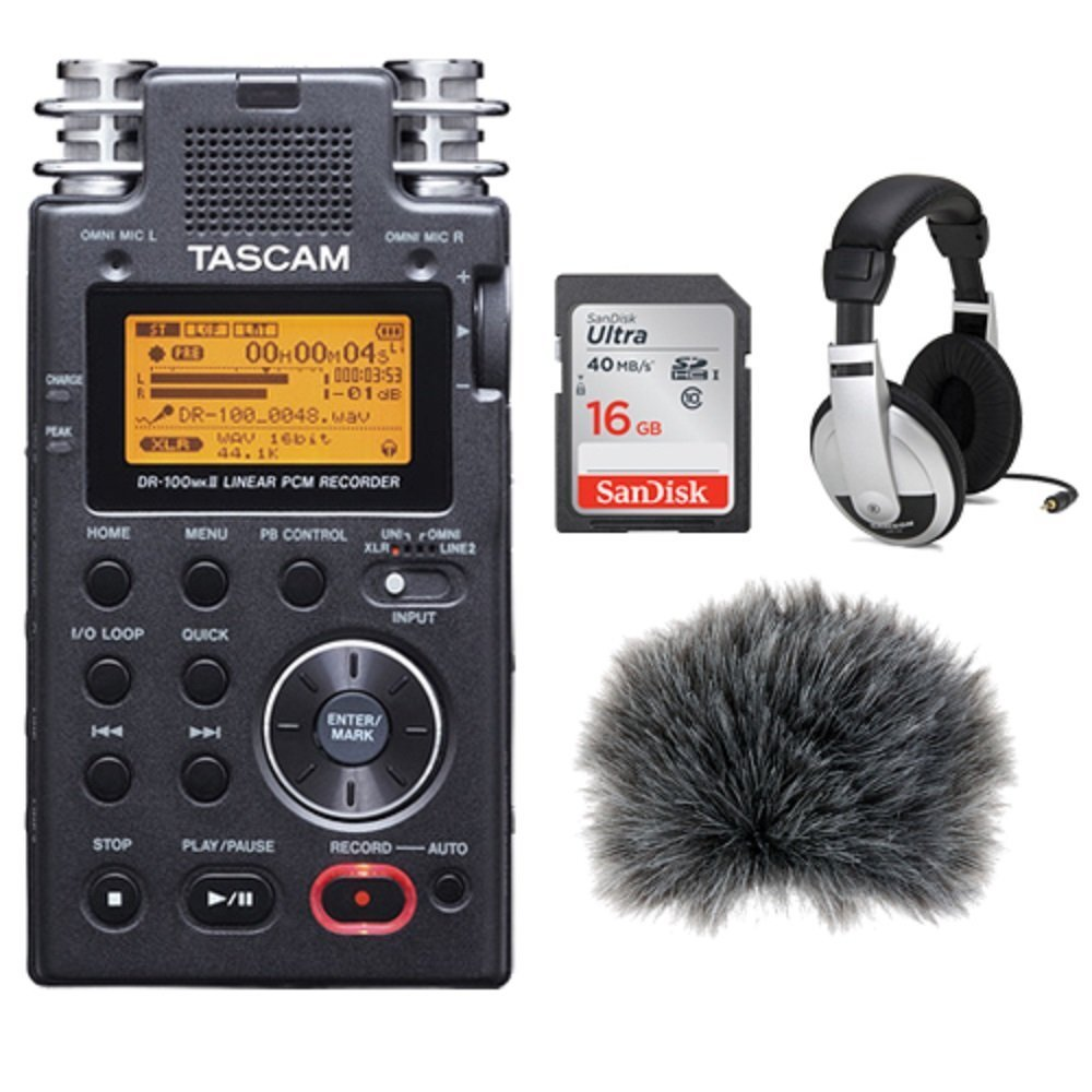 Tascam DR-100mkII - Portable 2-Channel Linear PCM Recorder Kit +Custom Windbuster + 16GB SDHC Memory Card Ultra + Closed-Back Stereo Headphones
