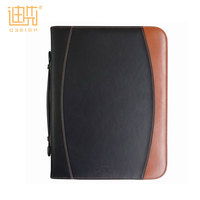 High quality leather business office stationery document notepad presentation folder a4 zip notebook portfolio